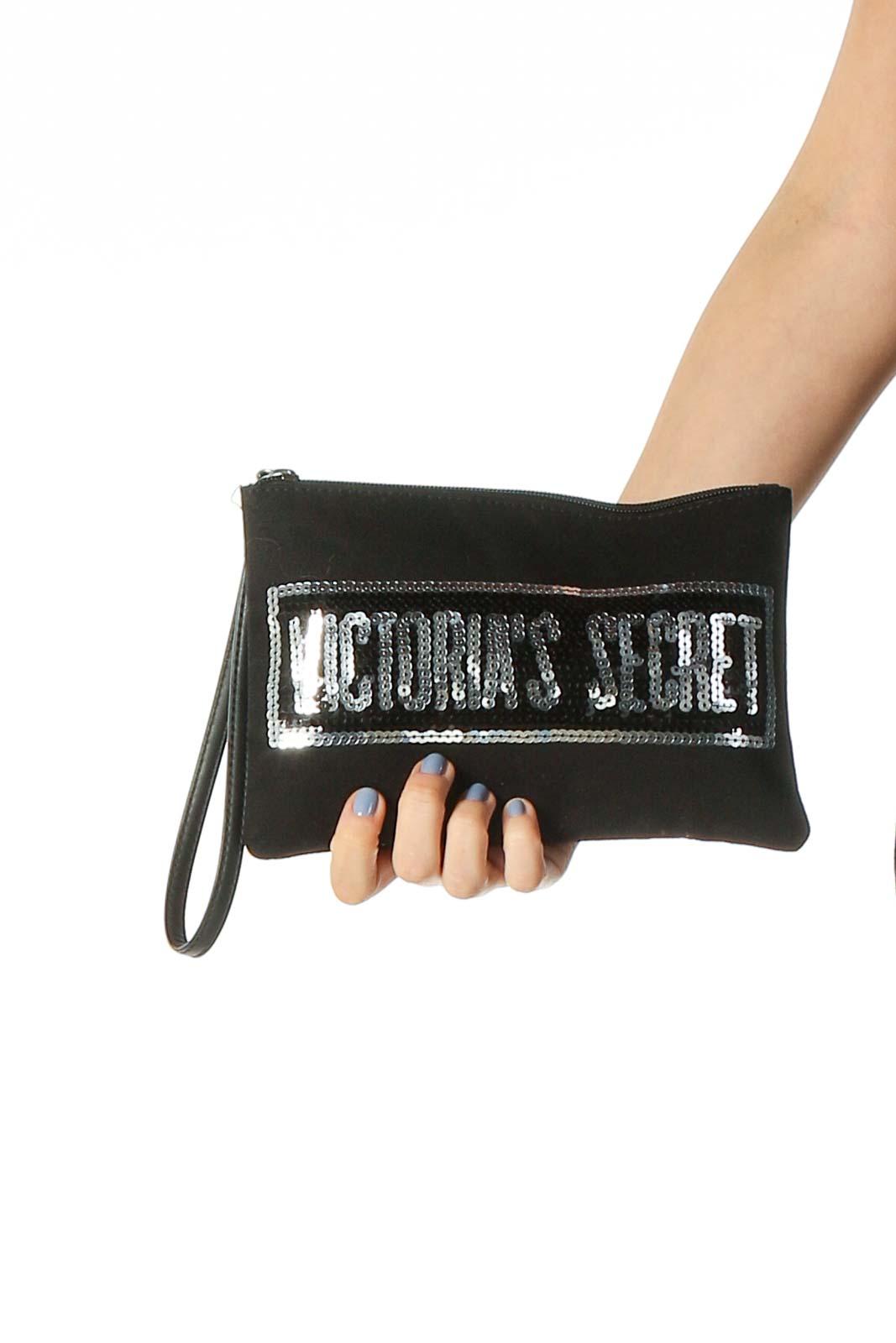Black Sequined Zippered Bag Front