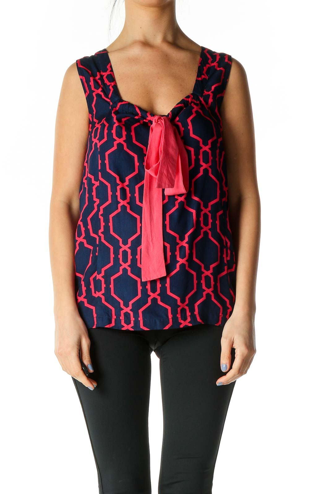Pink Geometric Print Casual Tank Top Front