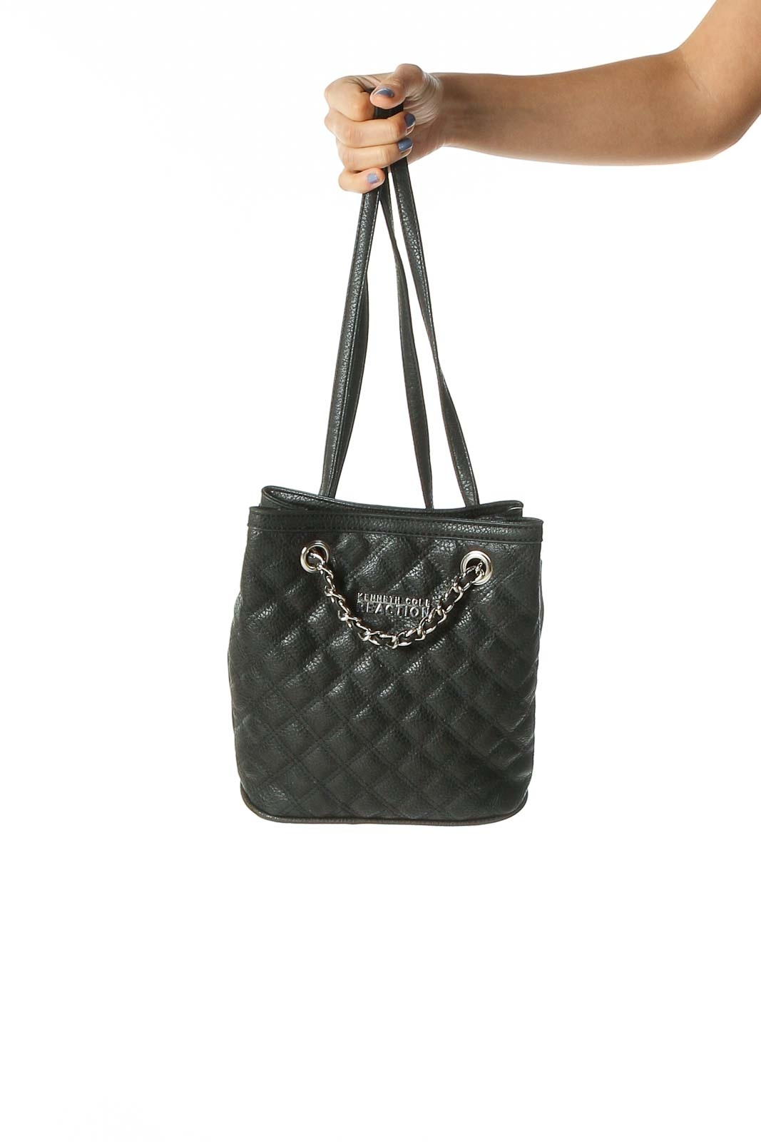 Black Quilted Backpack Front