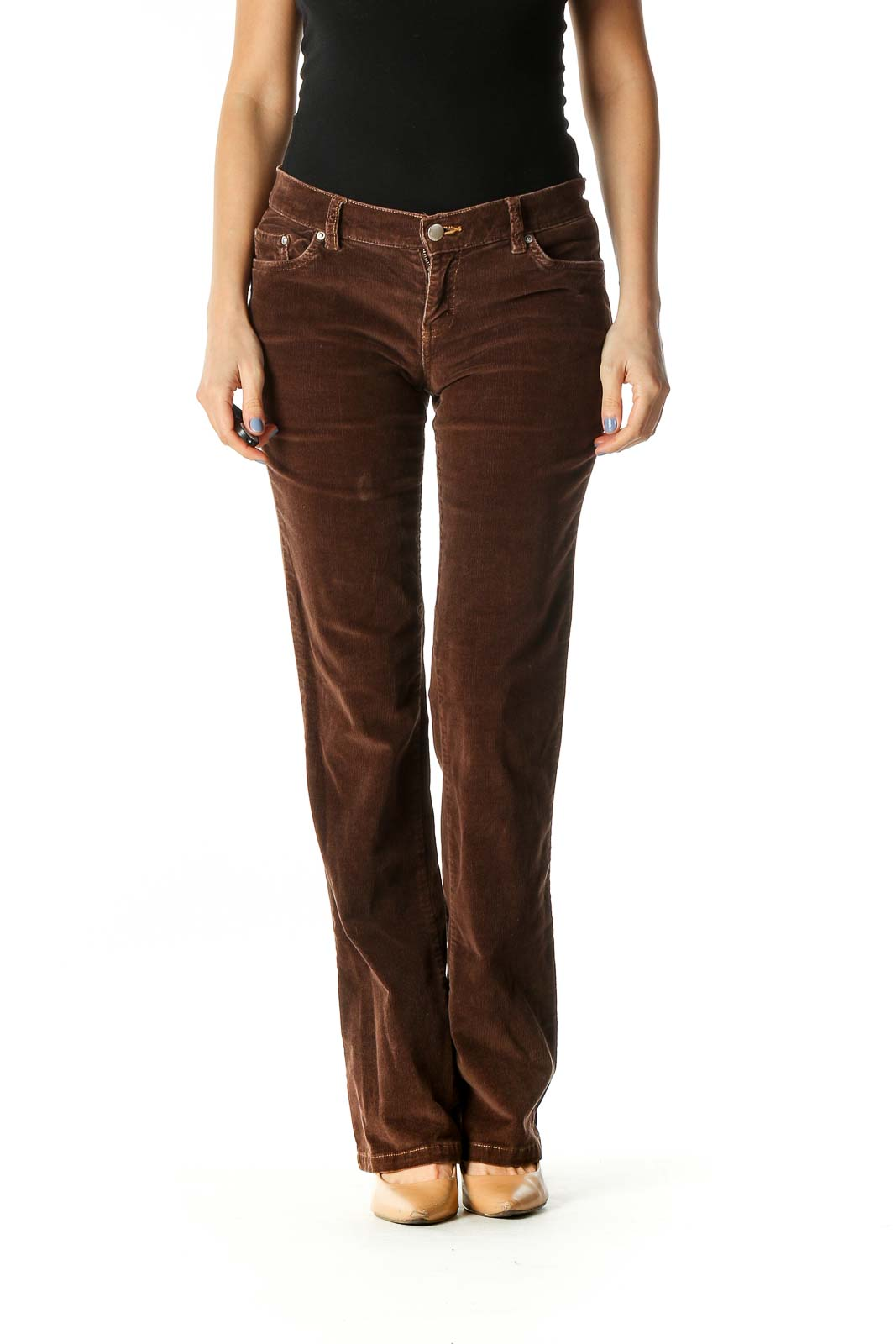 Brown Casual Bootcut Jeans Front