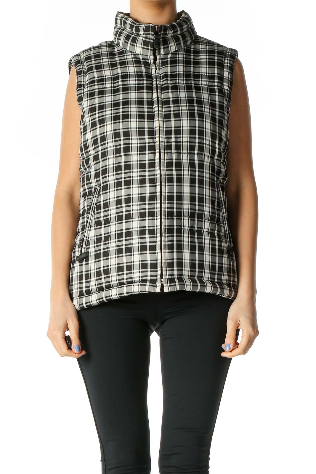 Black Checkered Puffer Vest Front