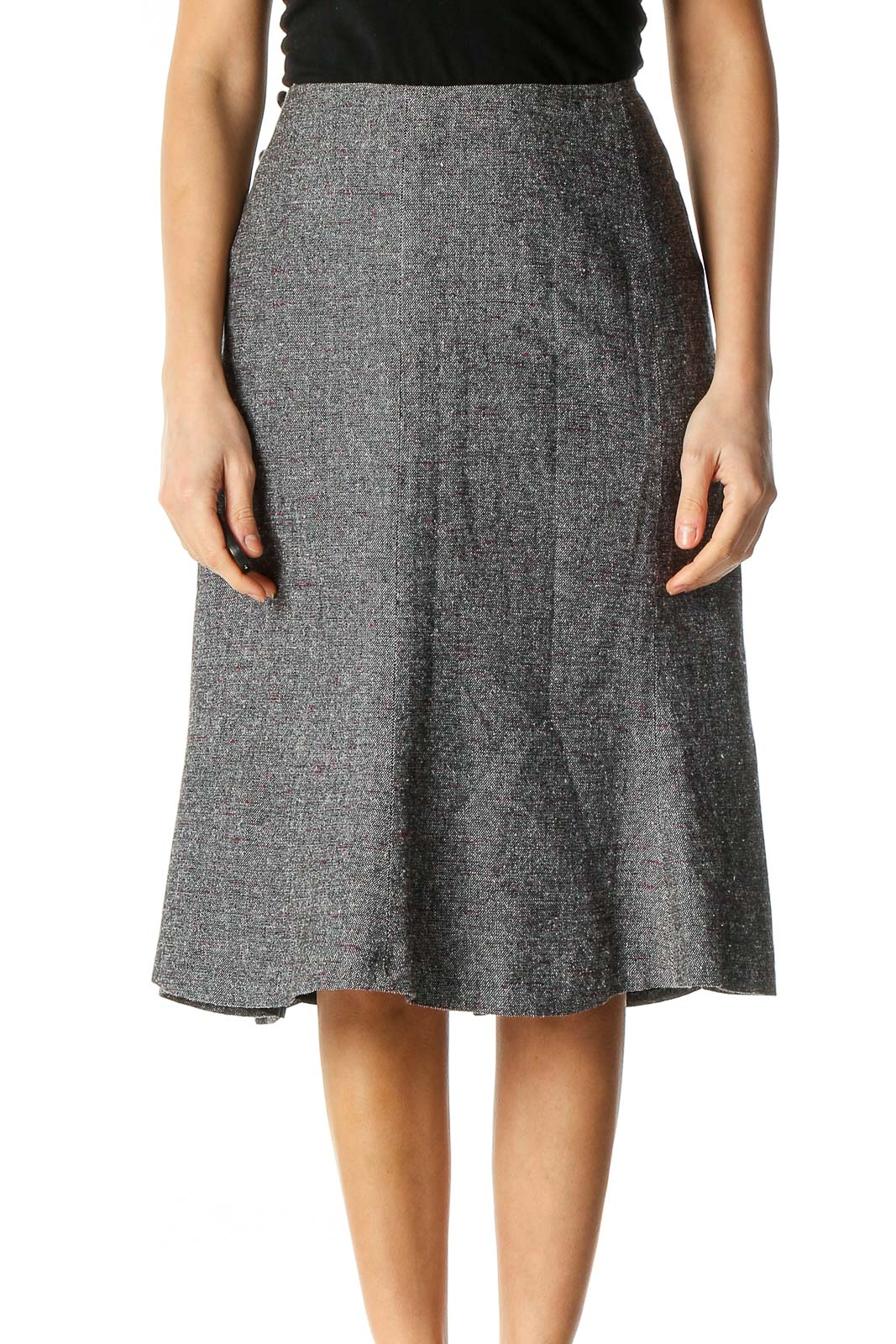 Gray Textured Classic A-Line Skirt Front