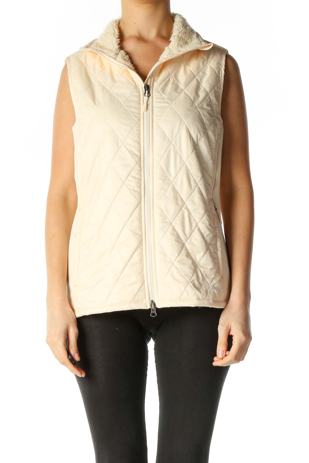 Beige Quilted Jacket Front