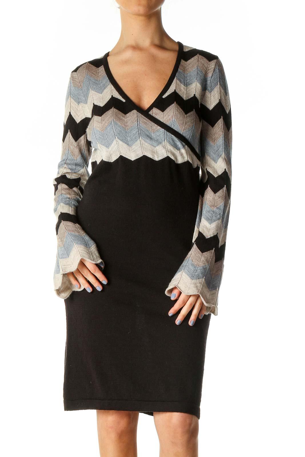 Black Textured Sheath Dress Front