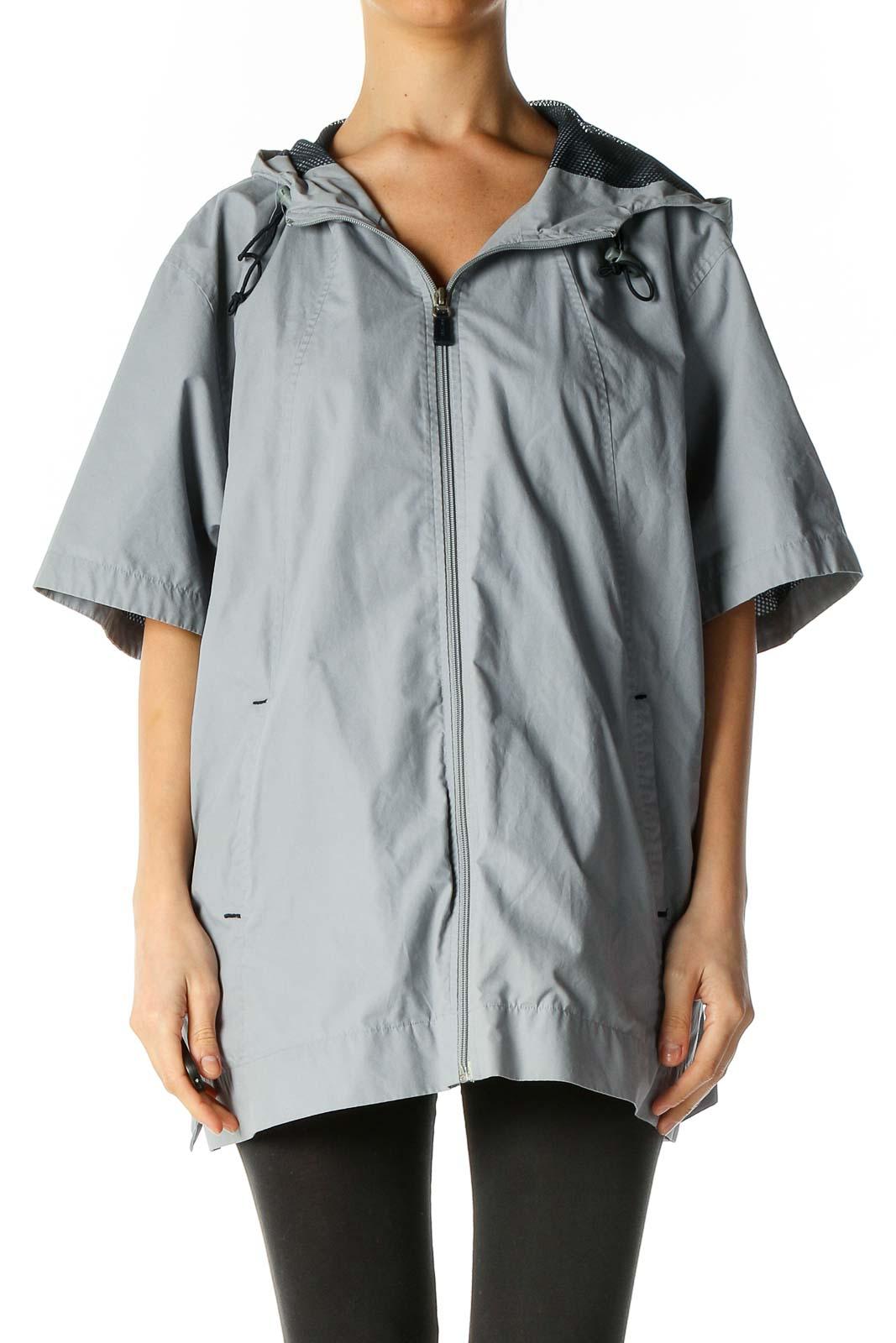Gray Windbreaker Jacket Front