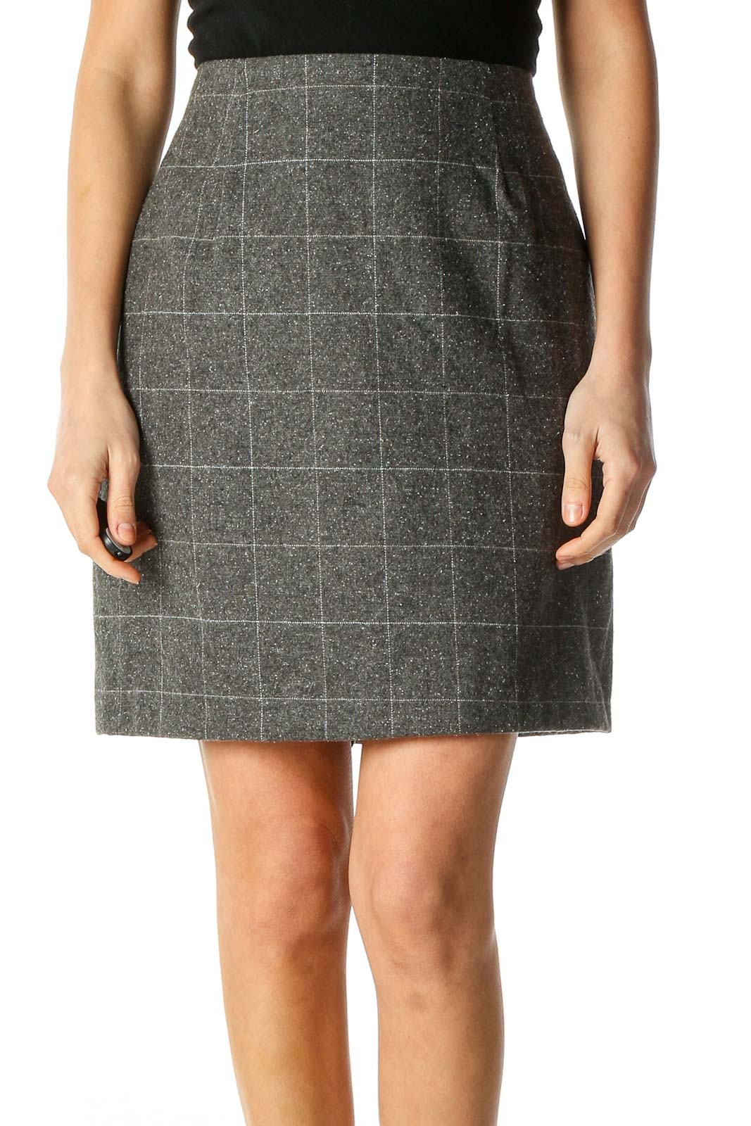 Gray Textured Party A-Line Skirt Front