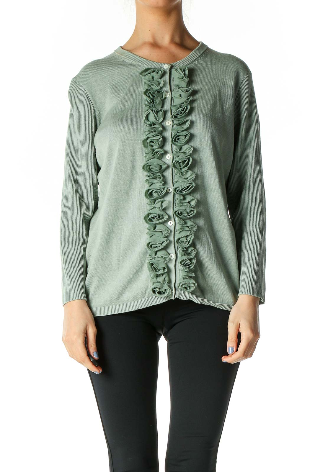 Green Solid Cardigan Front