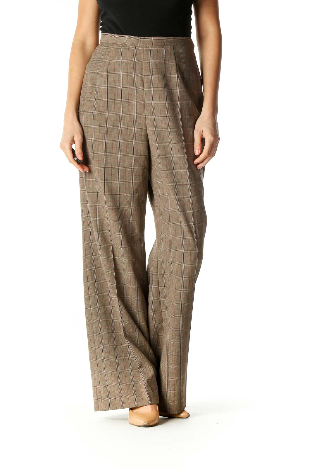 Brown Checkered Classic Trousers Front