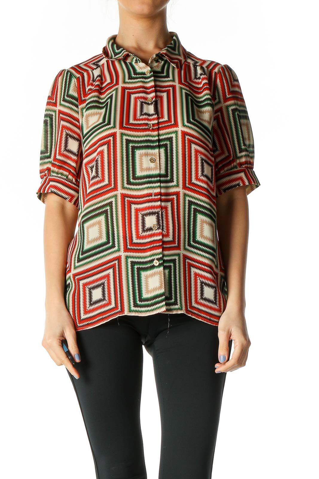 Red Geometric Print Retro Shirt Front