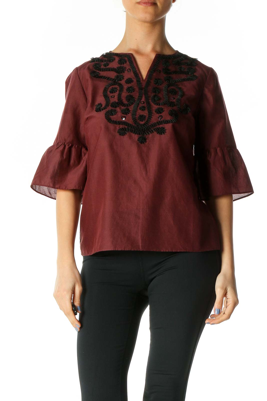 Brown Textured Chic Blouse Front