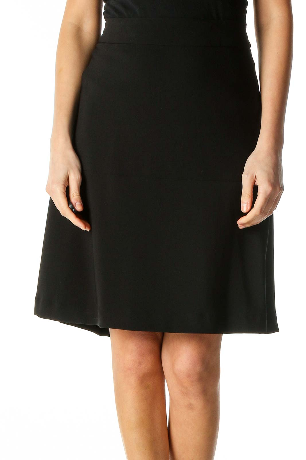 Black Solid Brunch A-Line Skirt Front