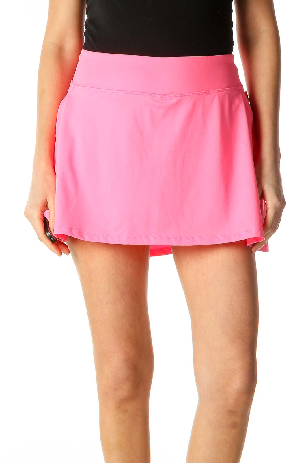 Pink Solid Activewear Mini Skirt Front