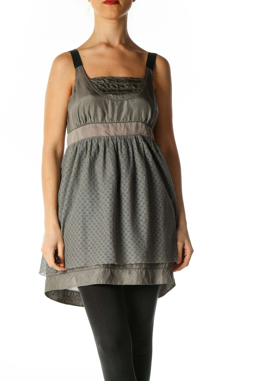 Gray Solid Bohemian Tank Top Front