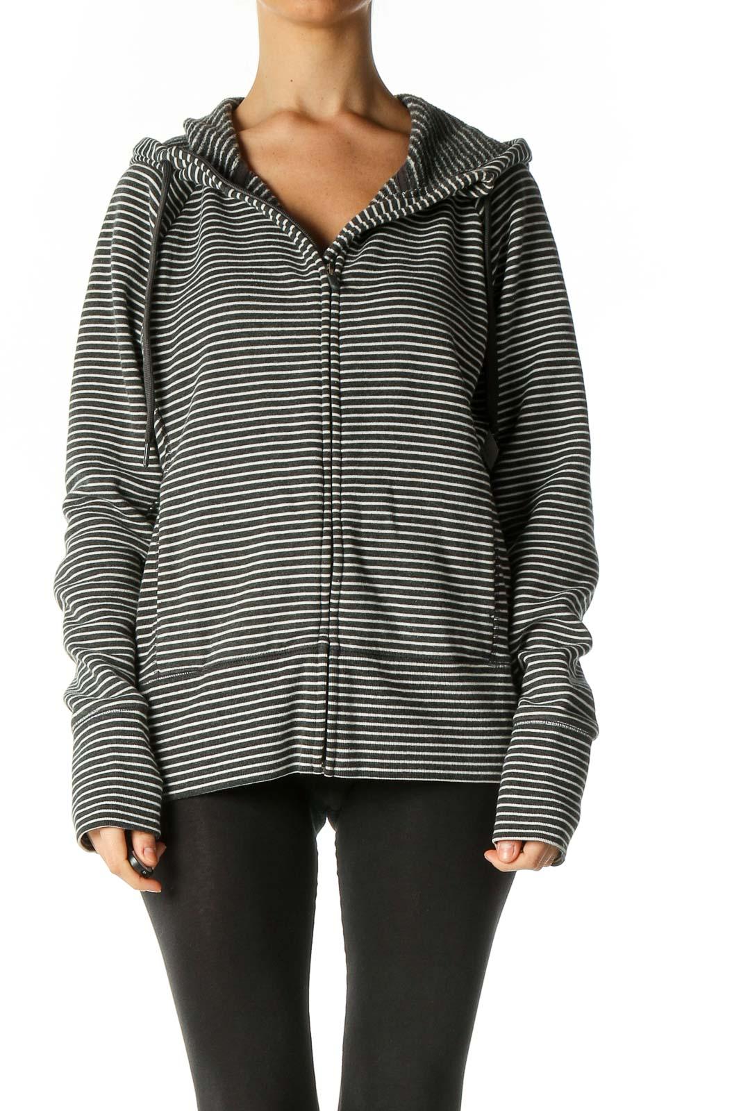Black Striped Activewear Jacket Front