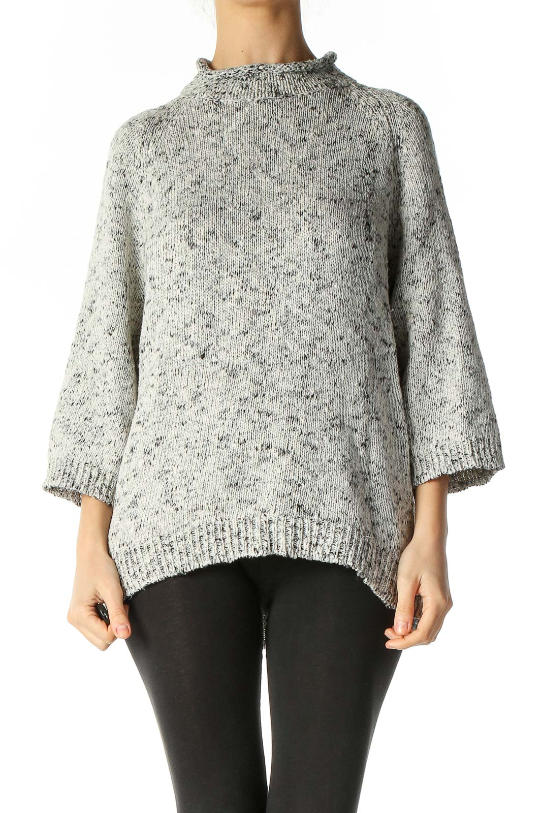 Gray Textured Retro Sweater Front