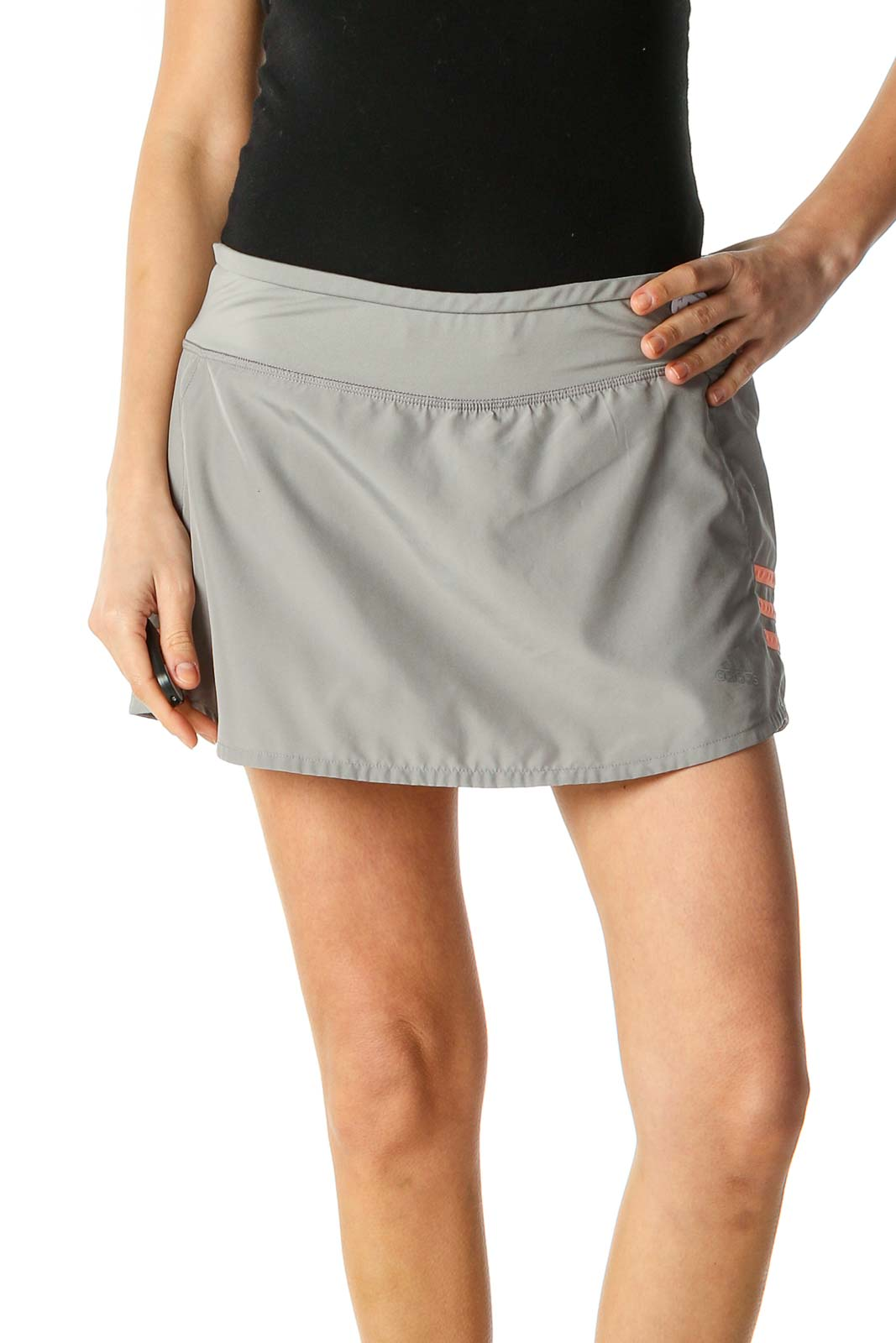 Gray Solid Activewear Mini Skirt Front