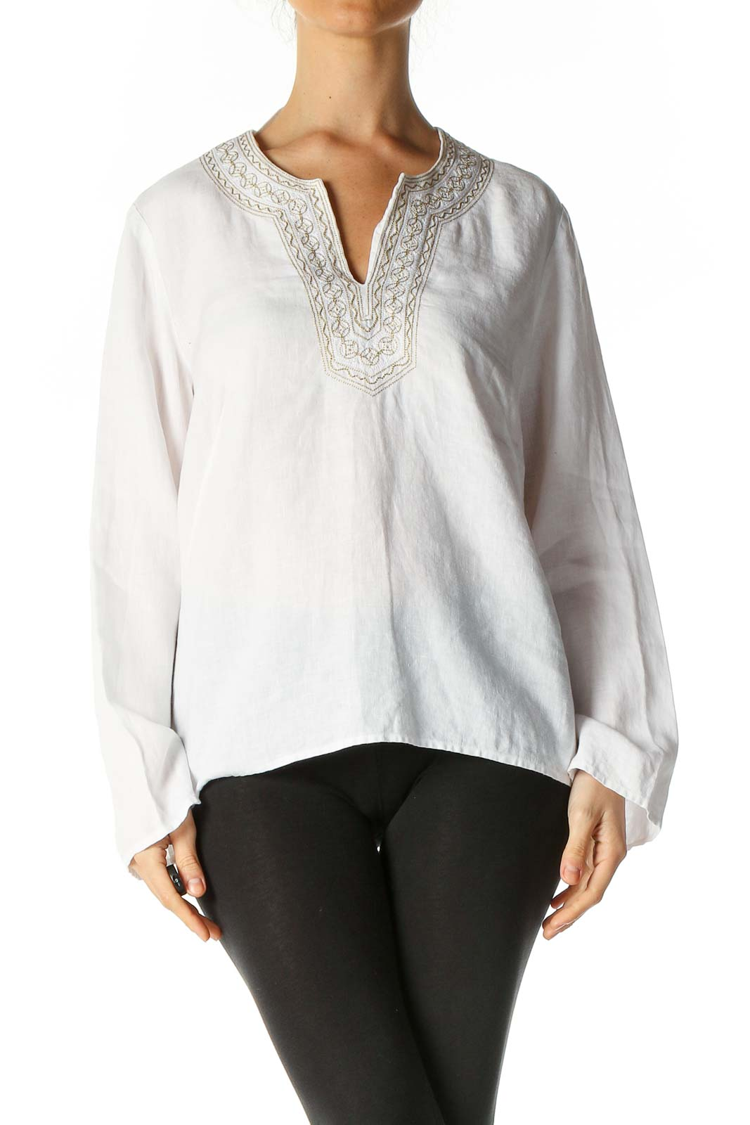 White Solid Bohemian Blouse Front