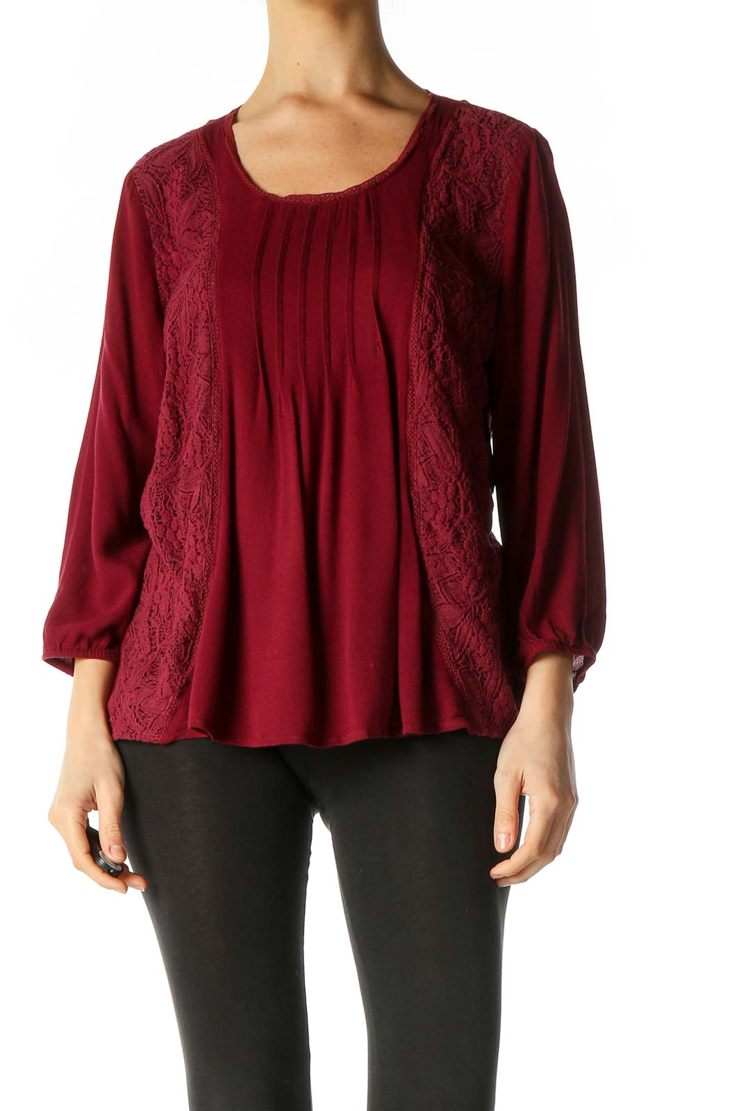 Red Solid Retro Blouse Front