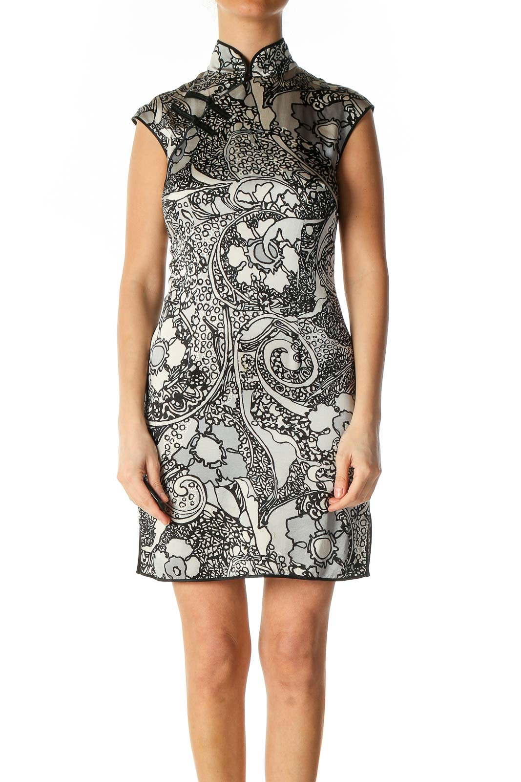 Gray Floral Print Chic Sheath Dress Front