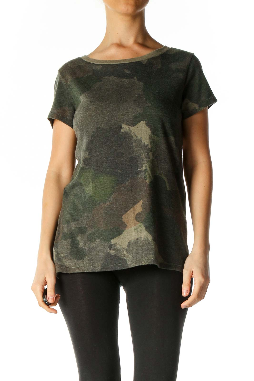 Green Camouflage Print All Day Wear T-Shirt Front