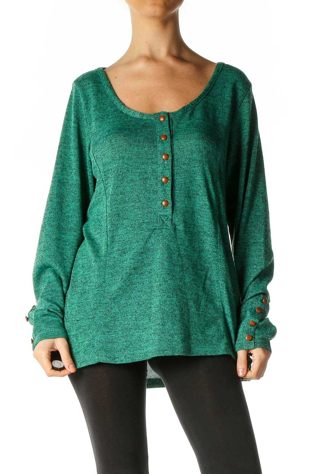 Green Textured Casual Blouse Front