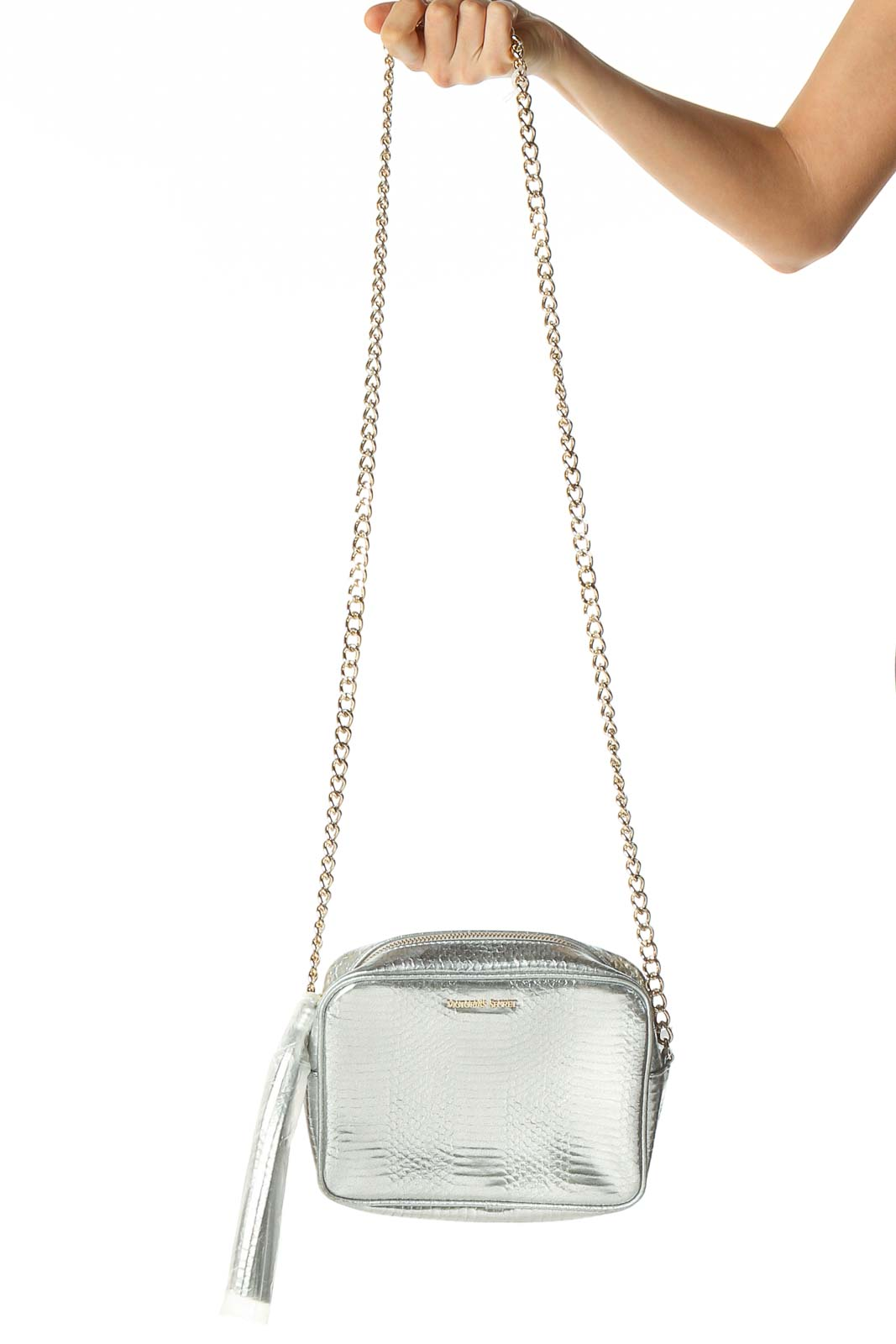 Silver Textured Crossbody Bag Front
