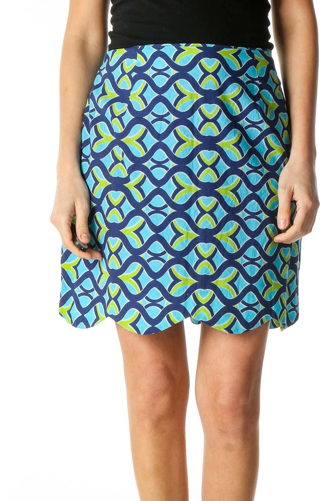Blue Graphic Print Chic Straight Skirt Front