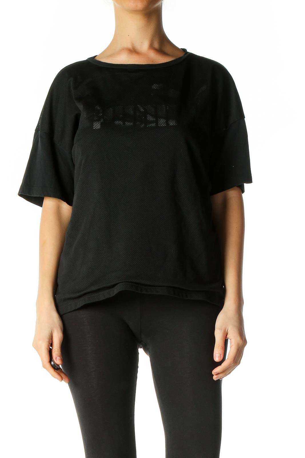 Black Solid Activewear T-Shirt Front