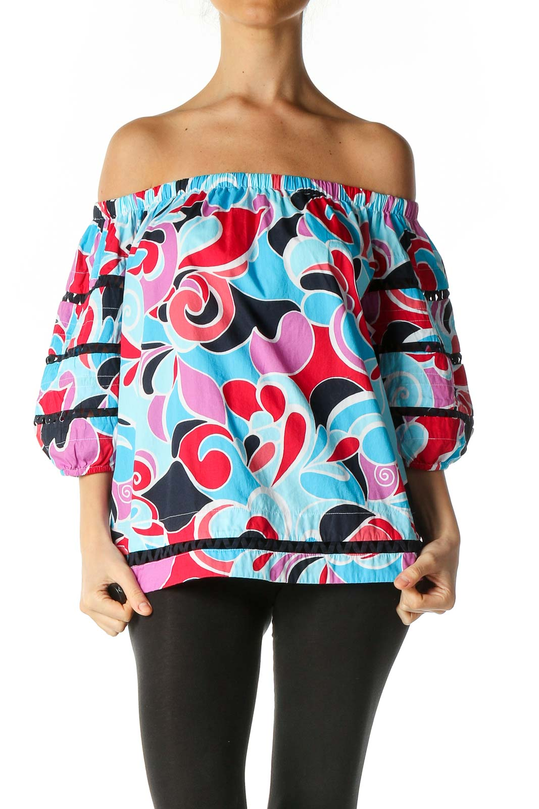 Blue Graphic Print Casual Blouse Front