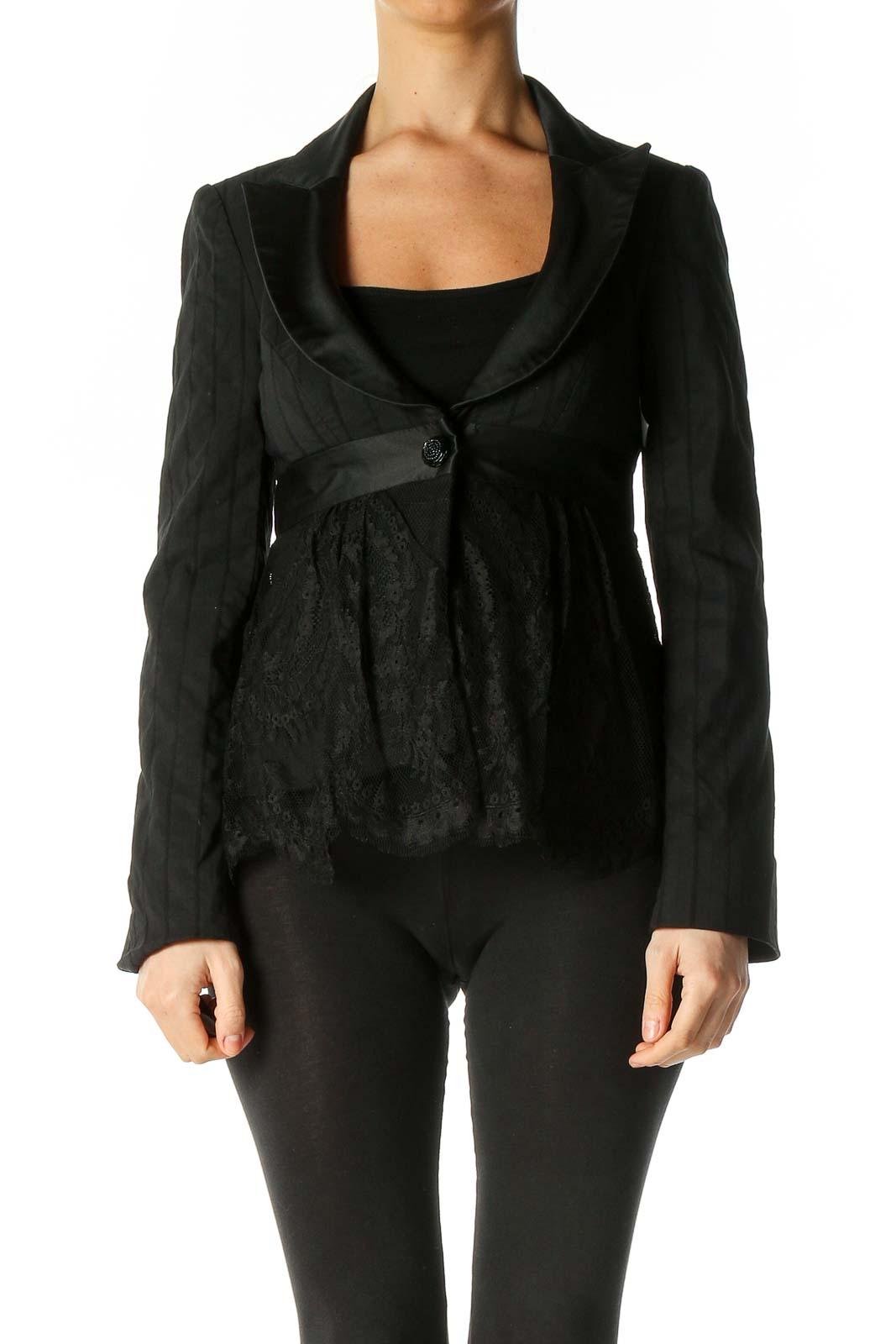 Black Lace Texture Blazer Front