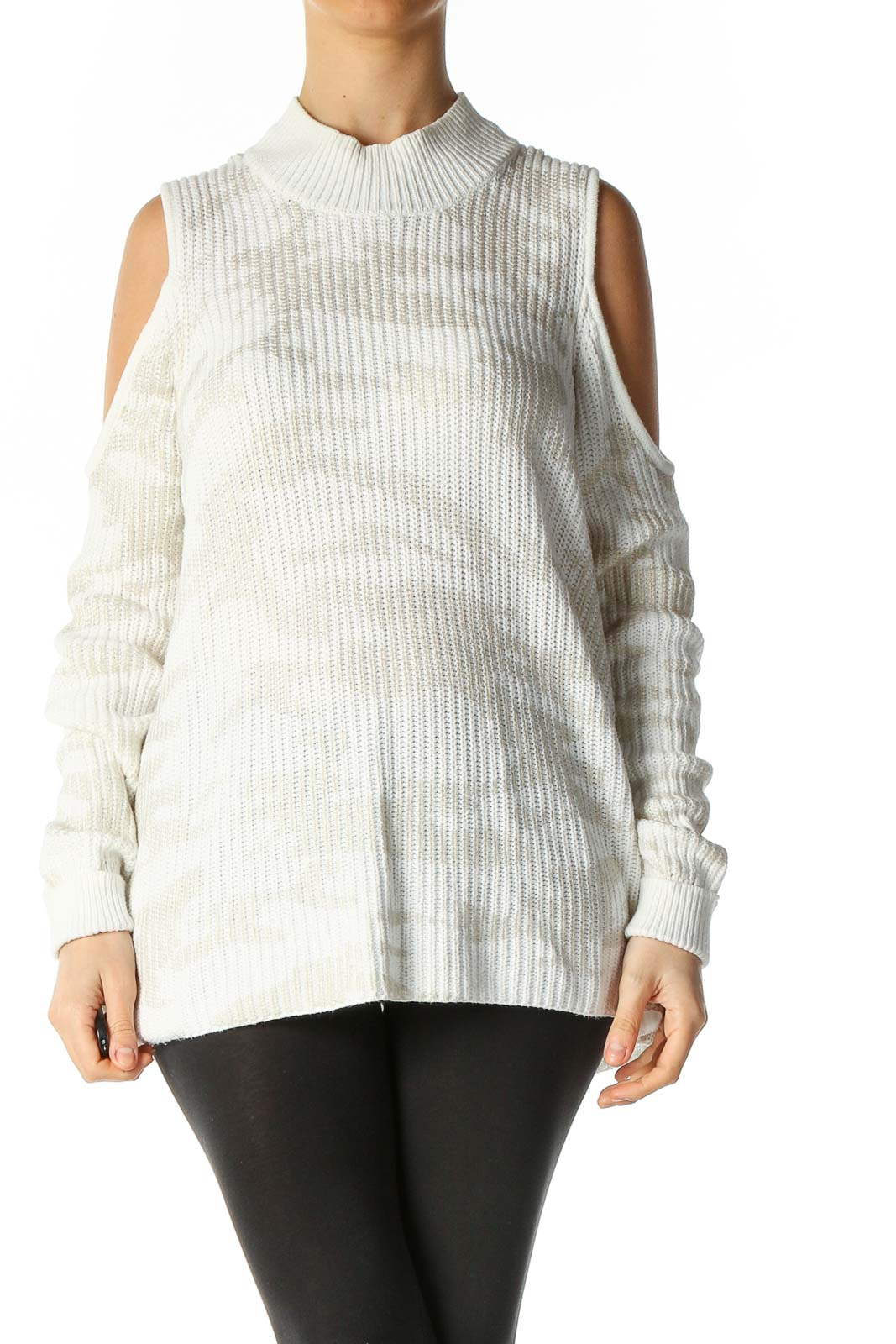 White Textured Semiformal Sweater Front