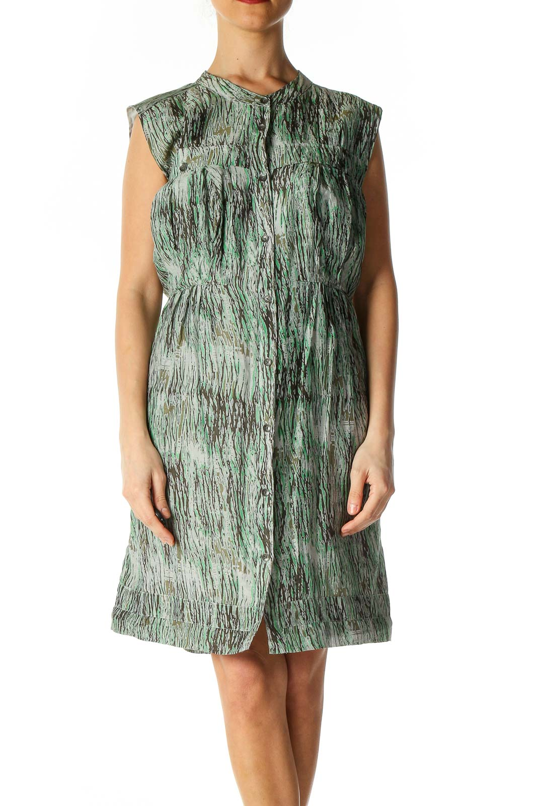 Green Object Print Bohemian Fit & Flare Dress Front