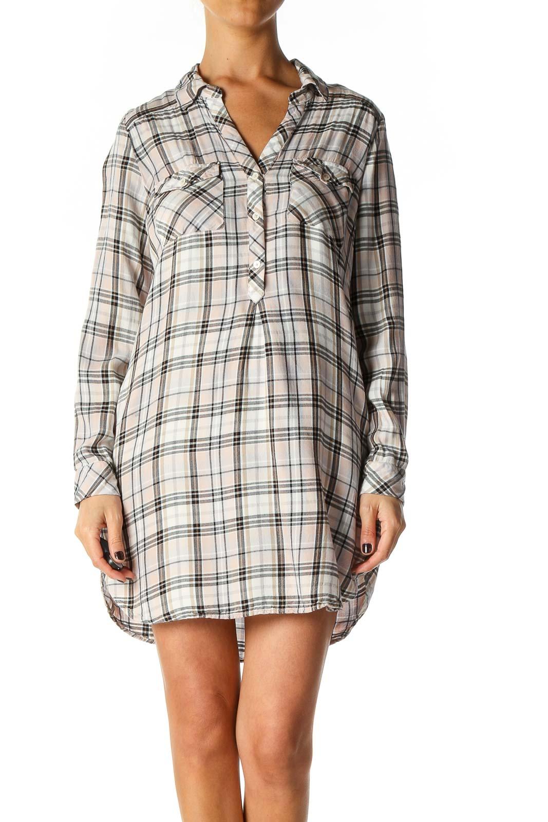 White Checkered Bohemian Shift Dress Front