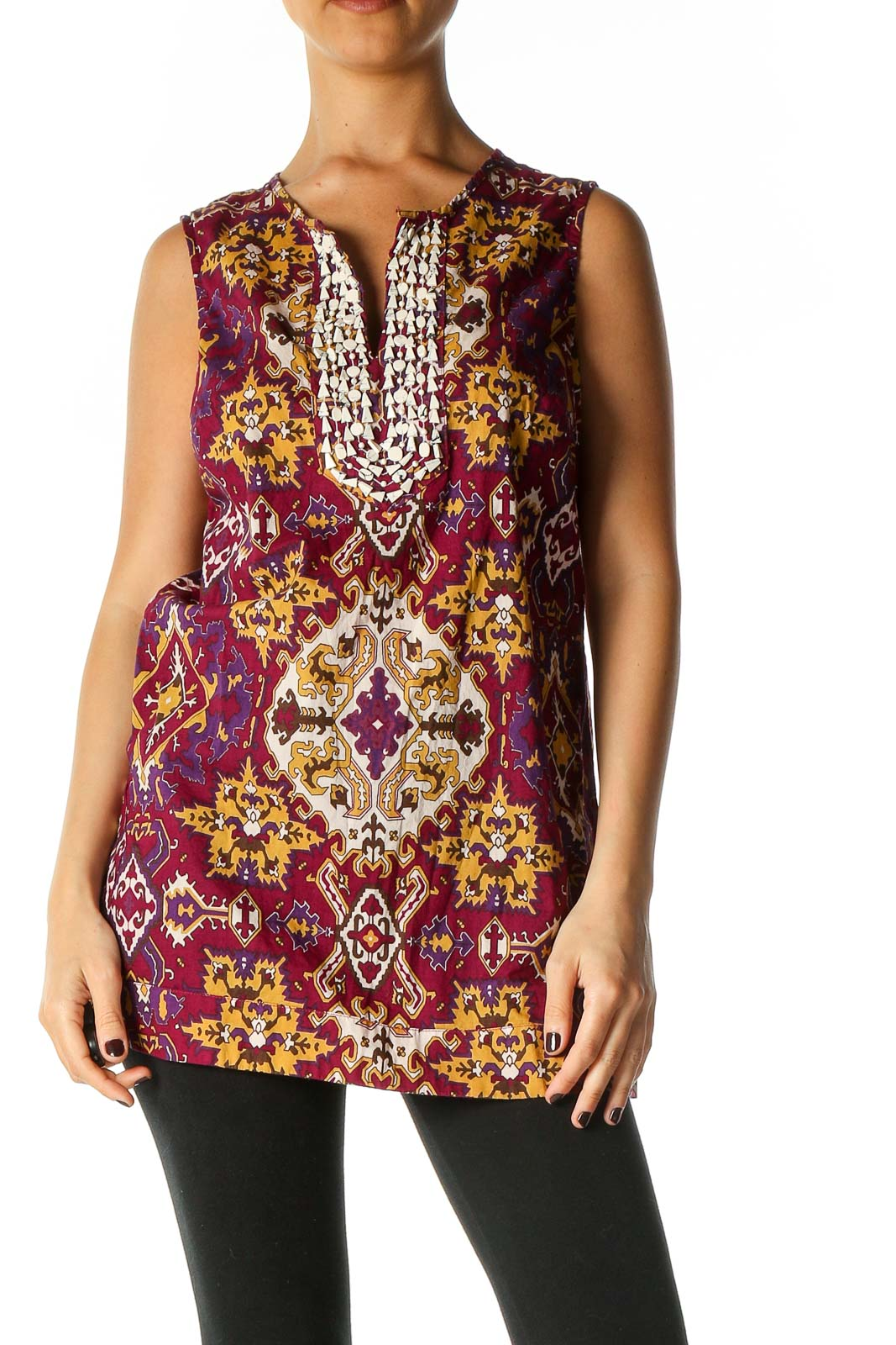 Red Graphic Print Bohemian Blouse Front