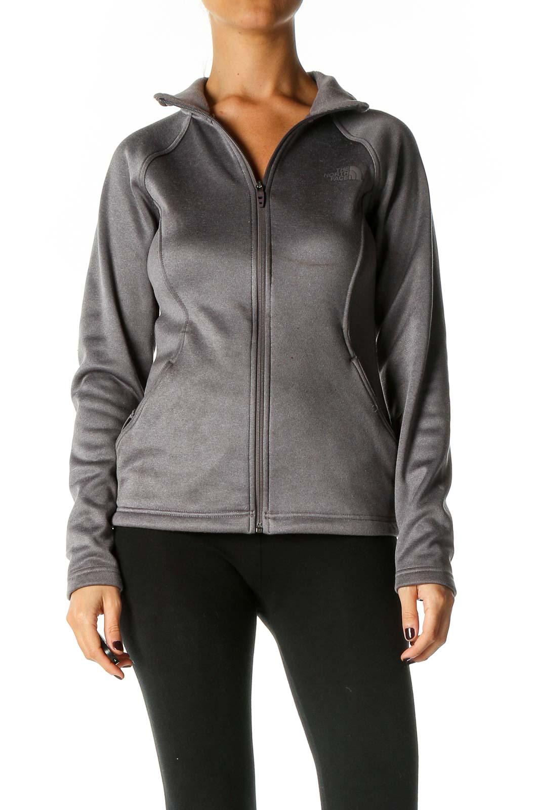 Gray Solid Sweatshirt Front