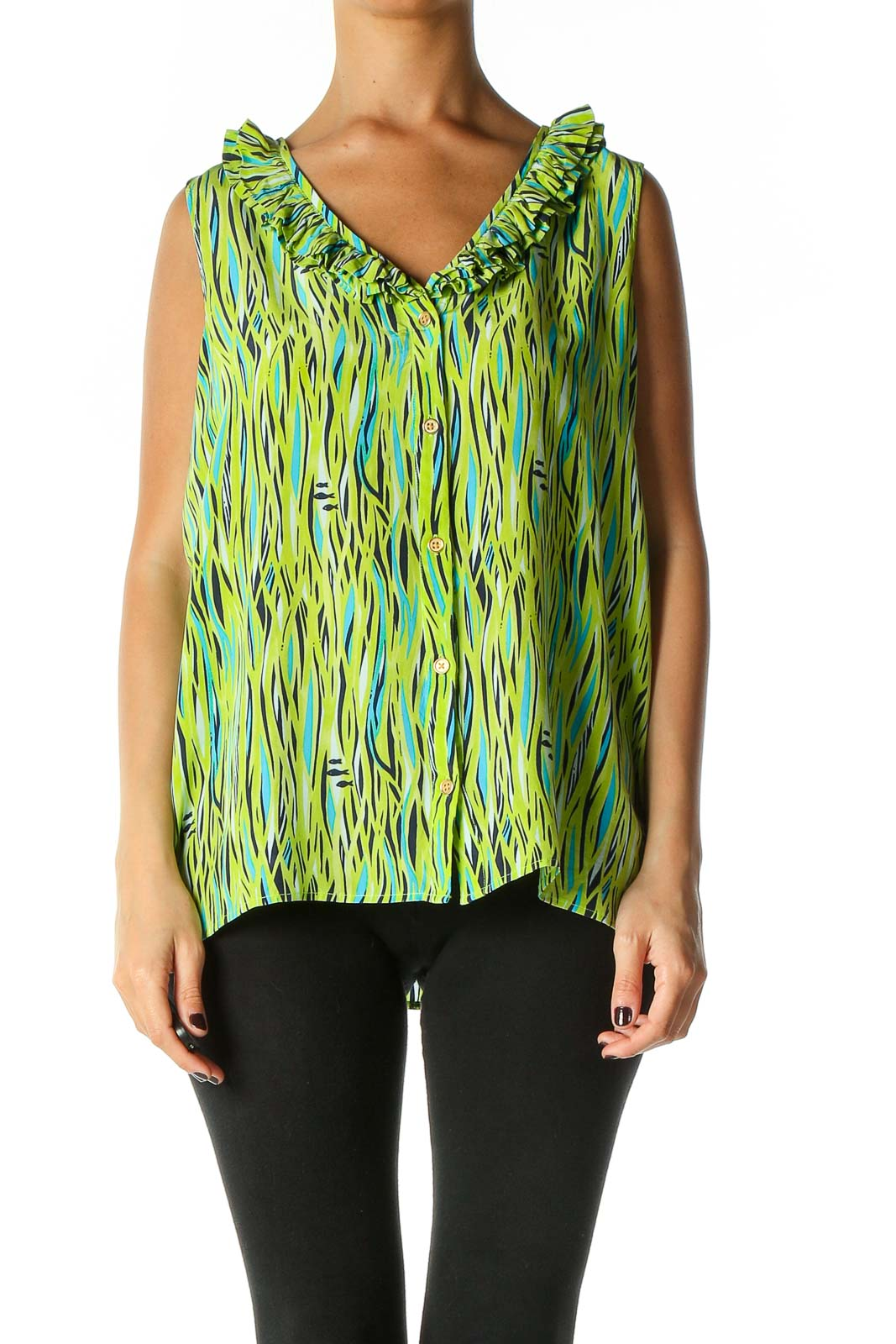 Green Graphic Print All Day Wear Blouse Front