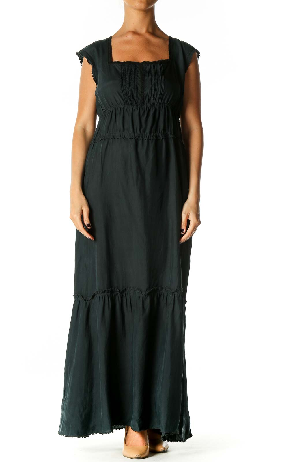 Green Solid Bohemian A-Line Dress Front