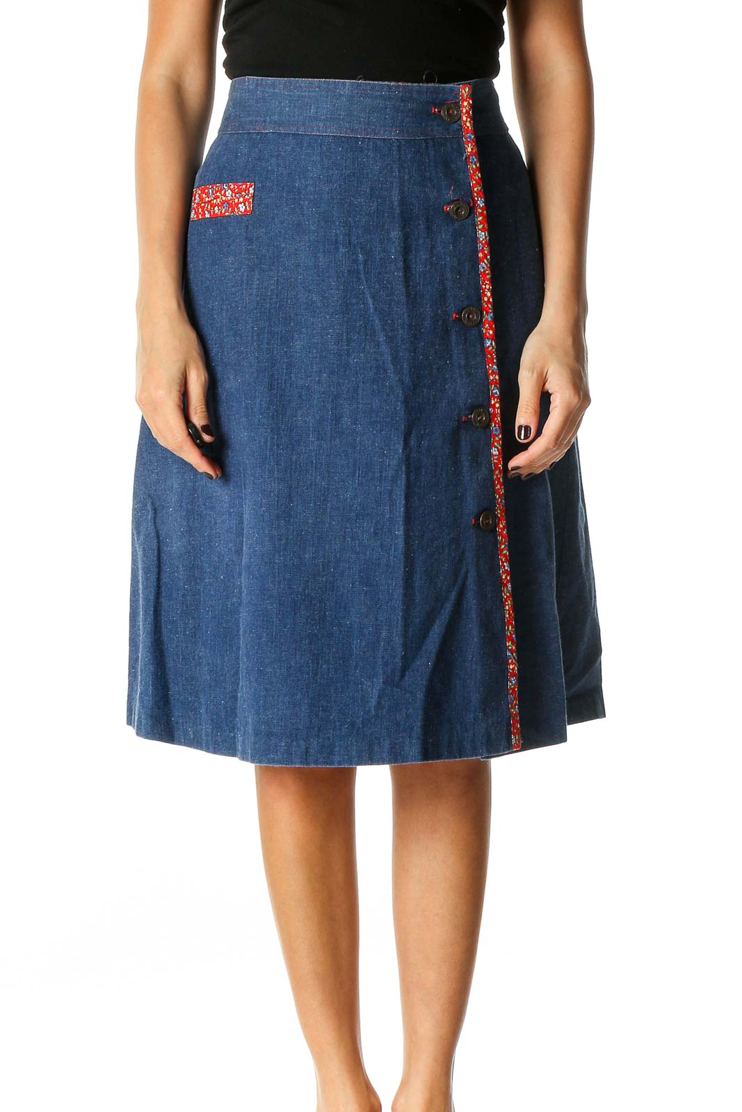 Blue Solid Retro A-Line Skirt Front