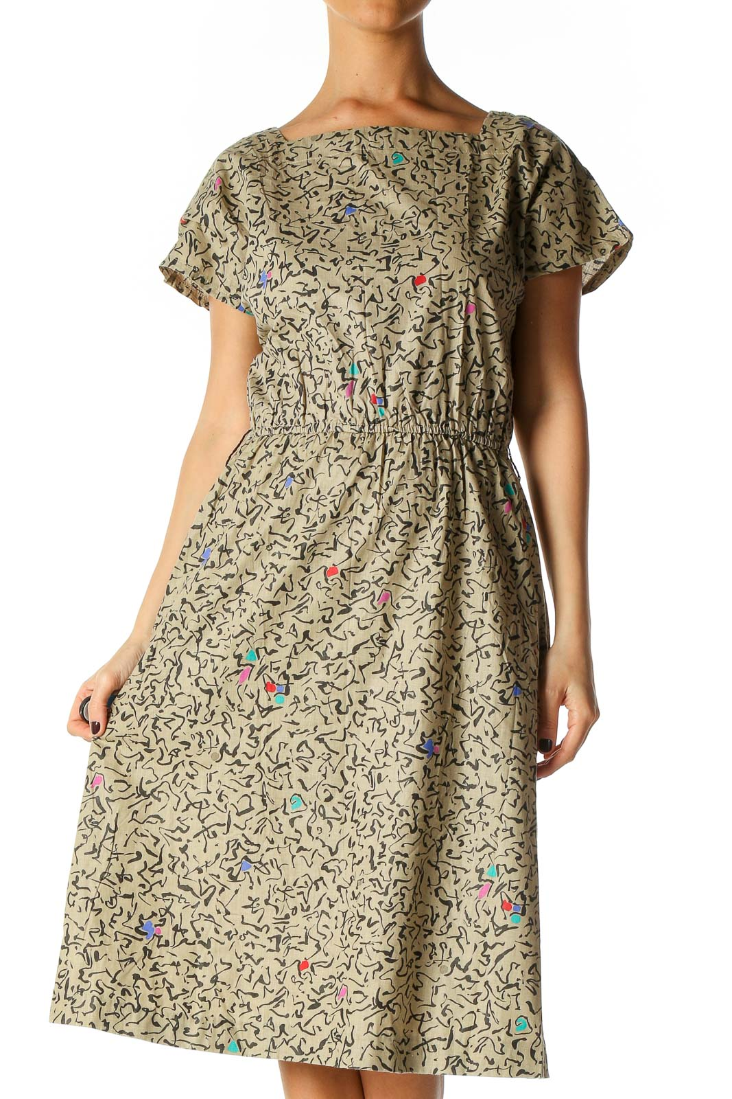 Beige Geometric Print Retro Fit & Flare Dress Front