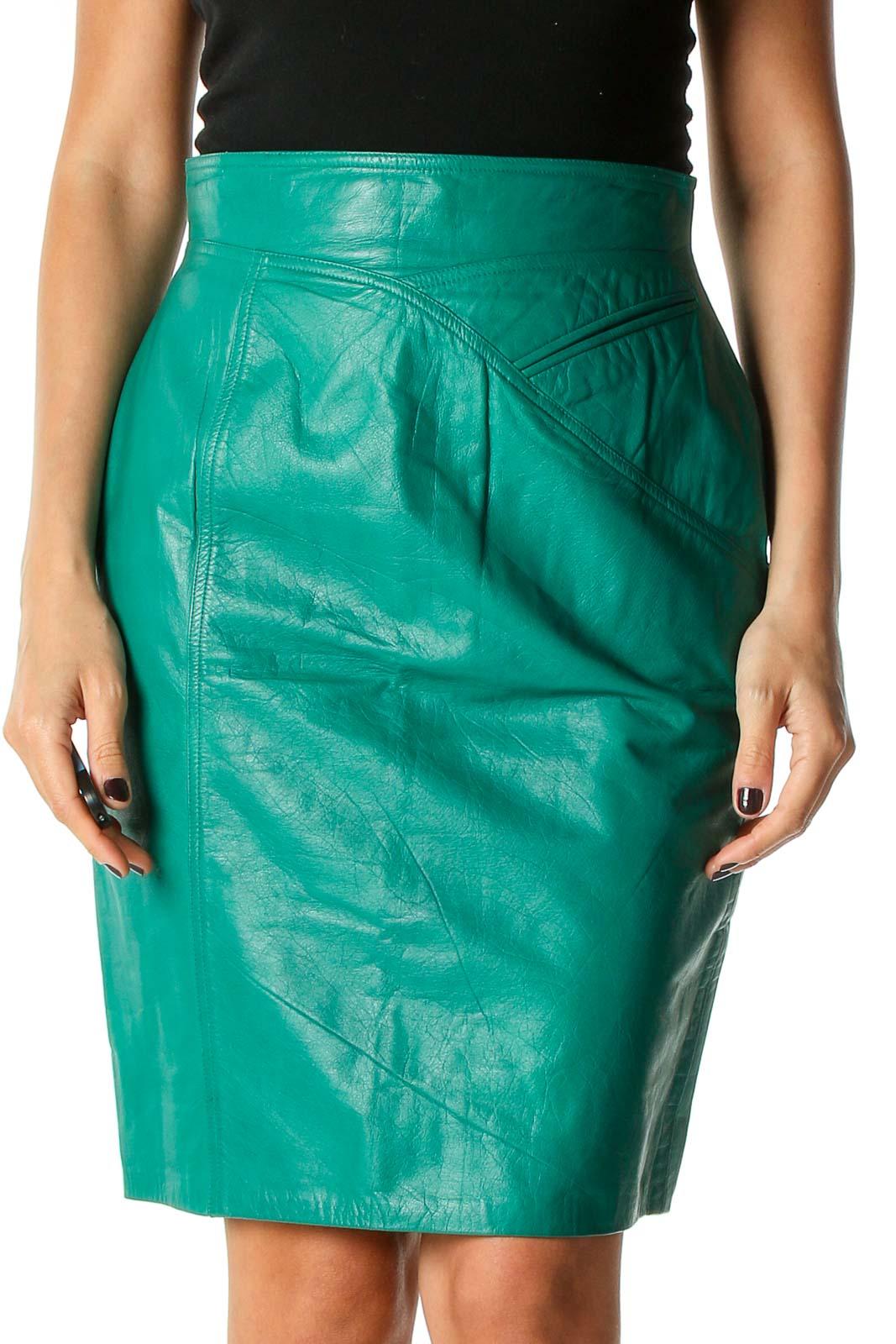 Green Colorblock Brunch Pencil Skirt Front