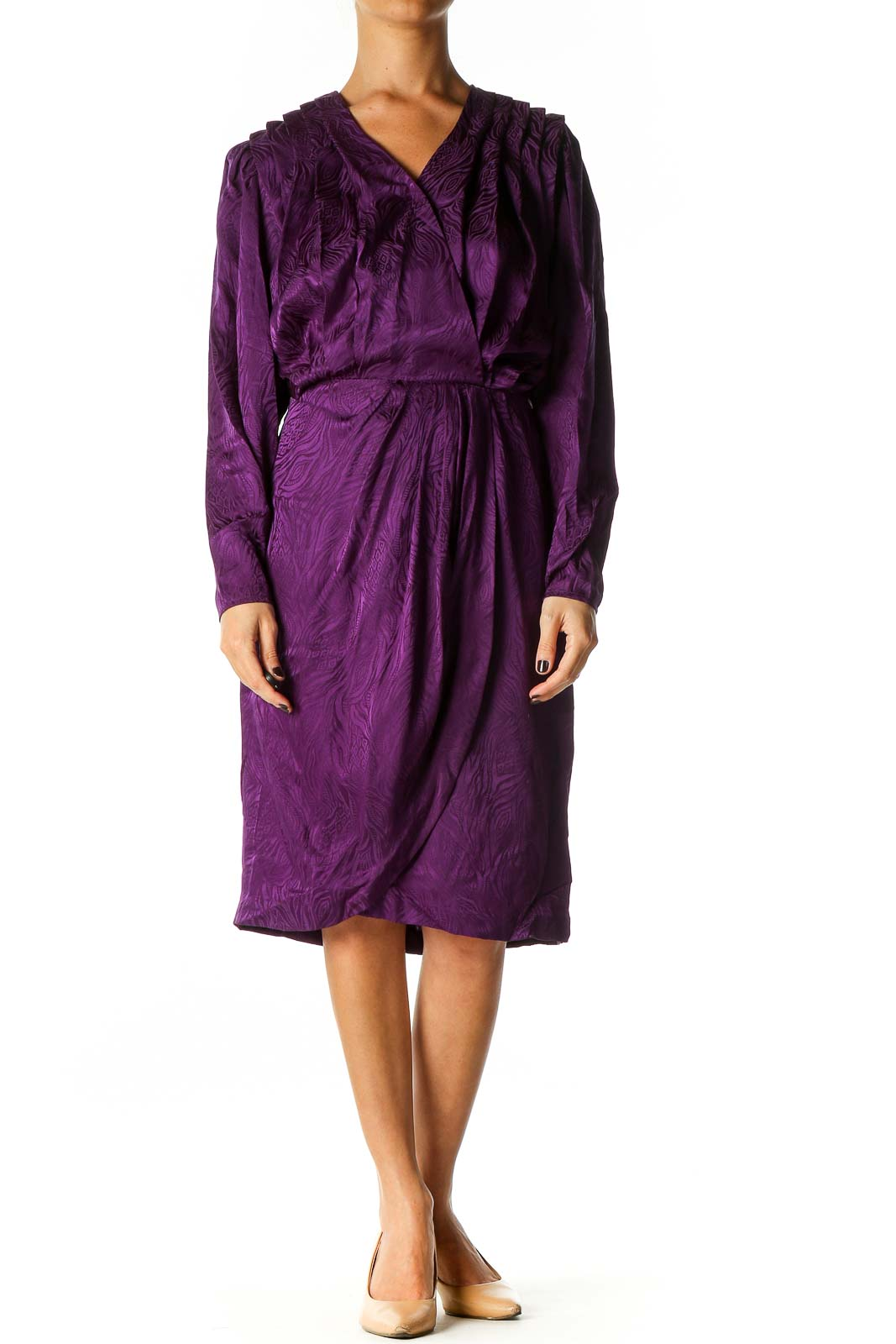 Purple Solid Holiday Shift Dress Front