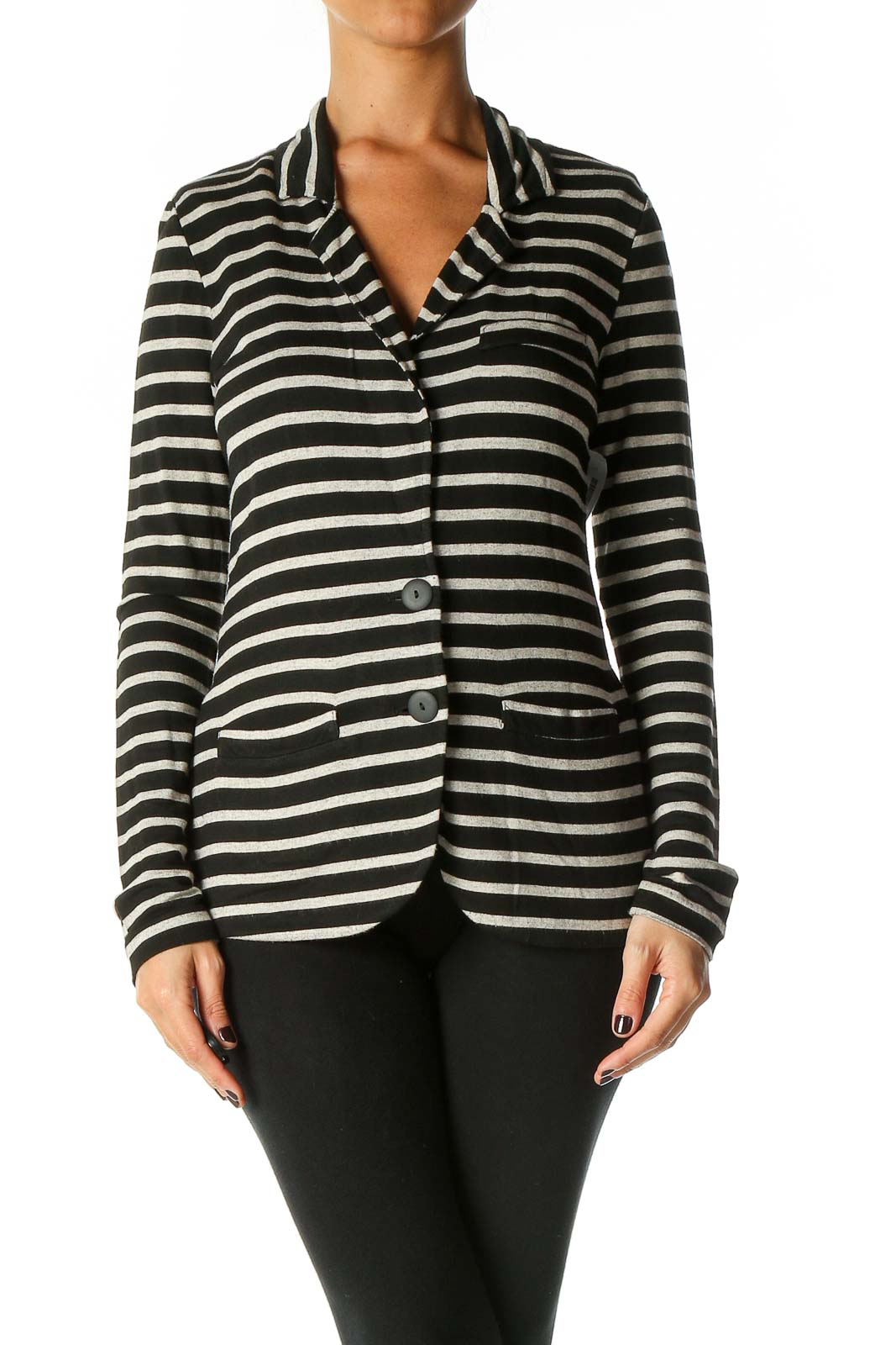 Black Striped Cardigan Front