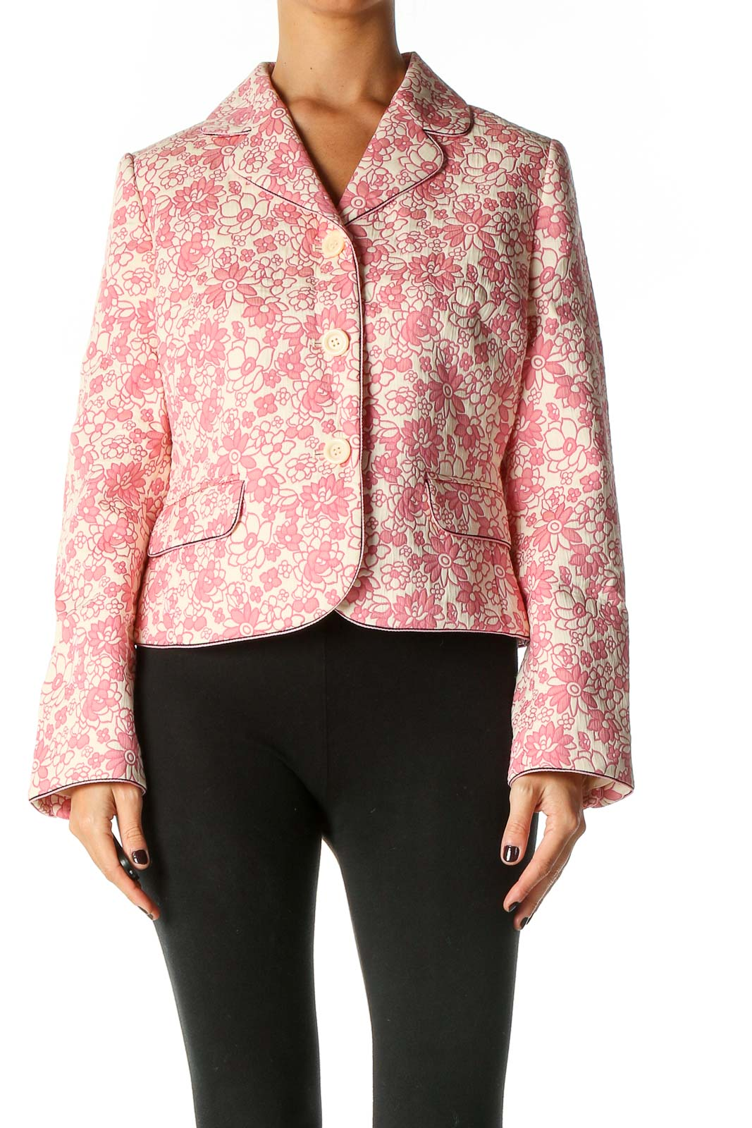 Pink Quilted Jacket Front