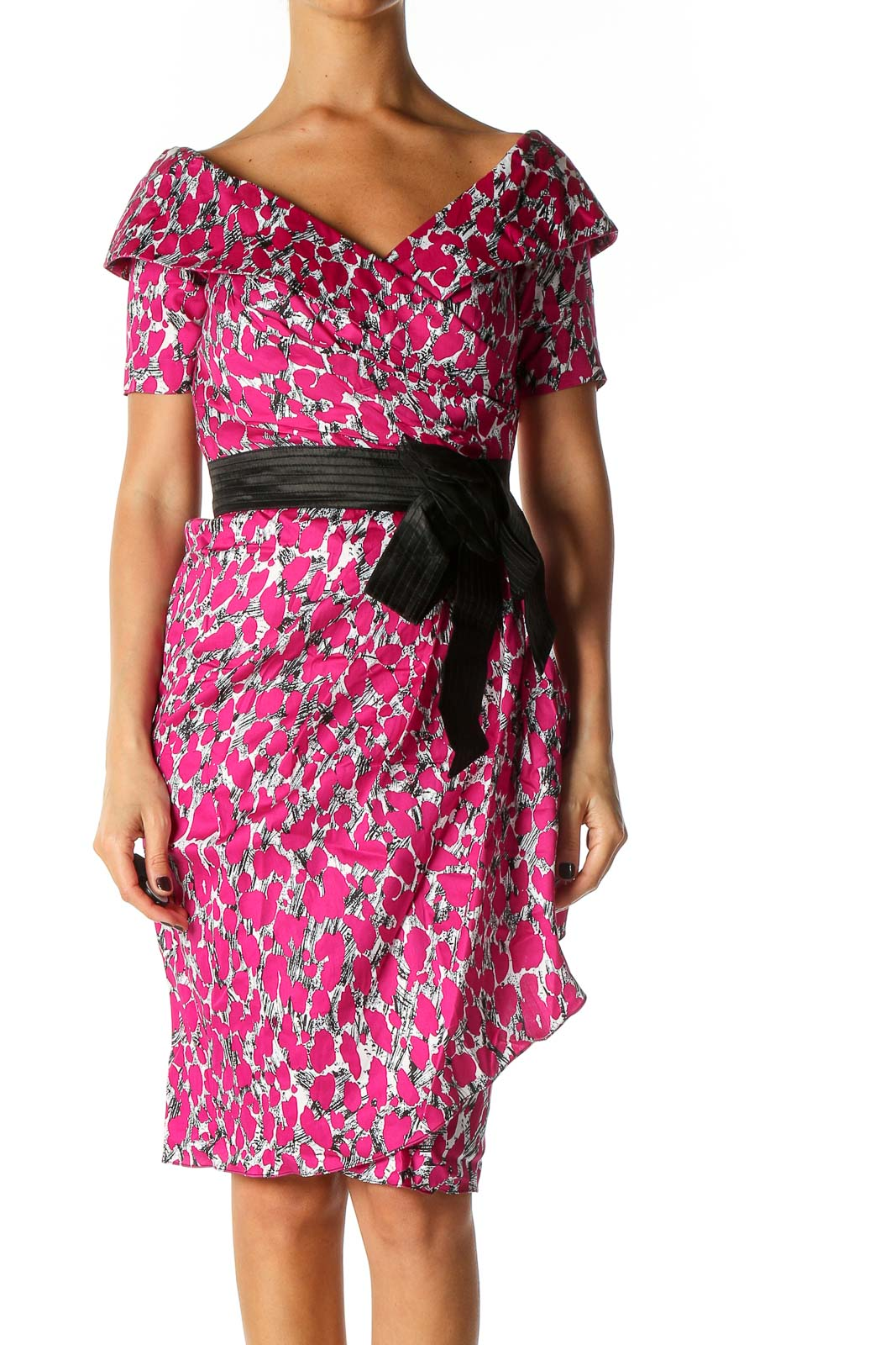 Pink Colorblock Day A-Line Dress Front