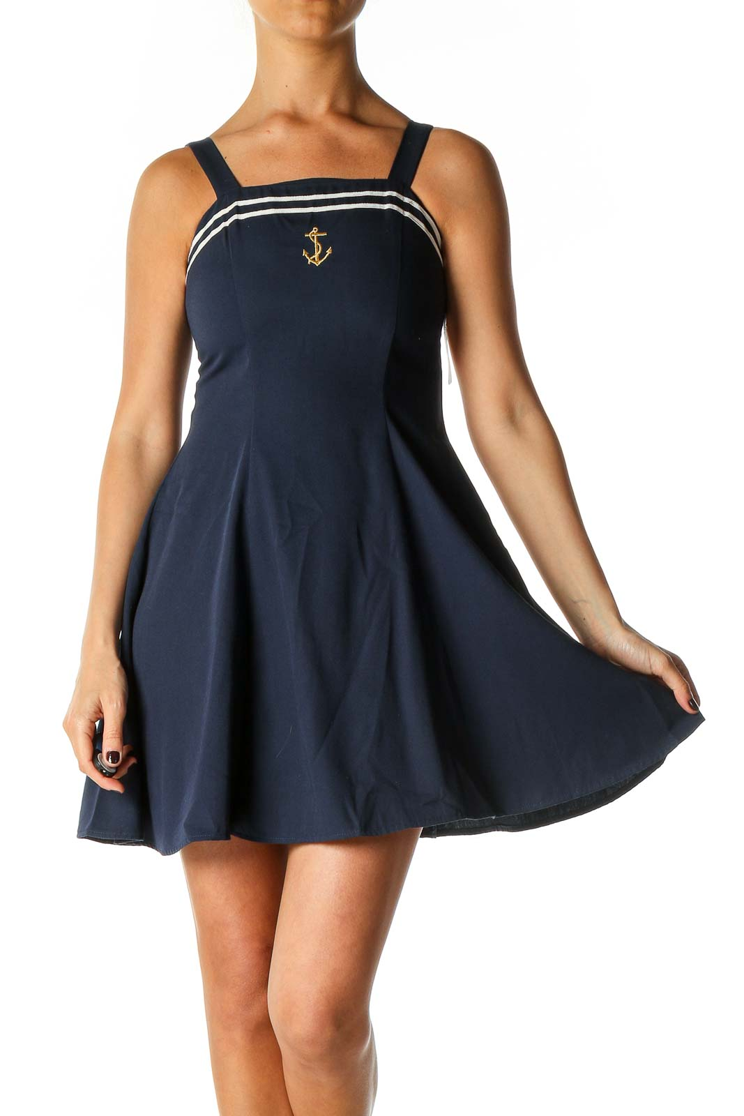 Blue Solid Casual Fit & Flare Dress Front