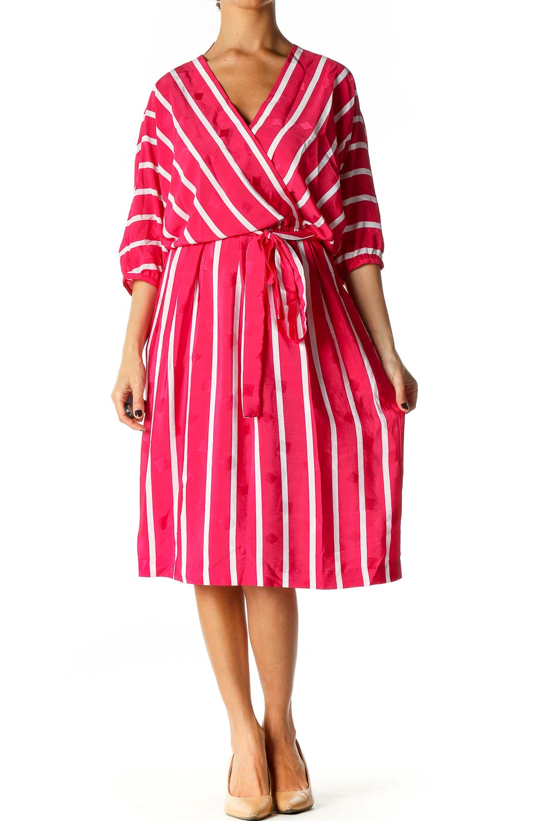 Pink Striped Retro Fit & Flare Dress Front