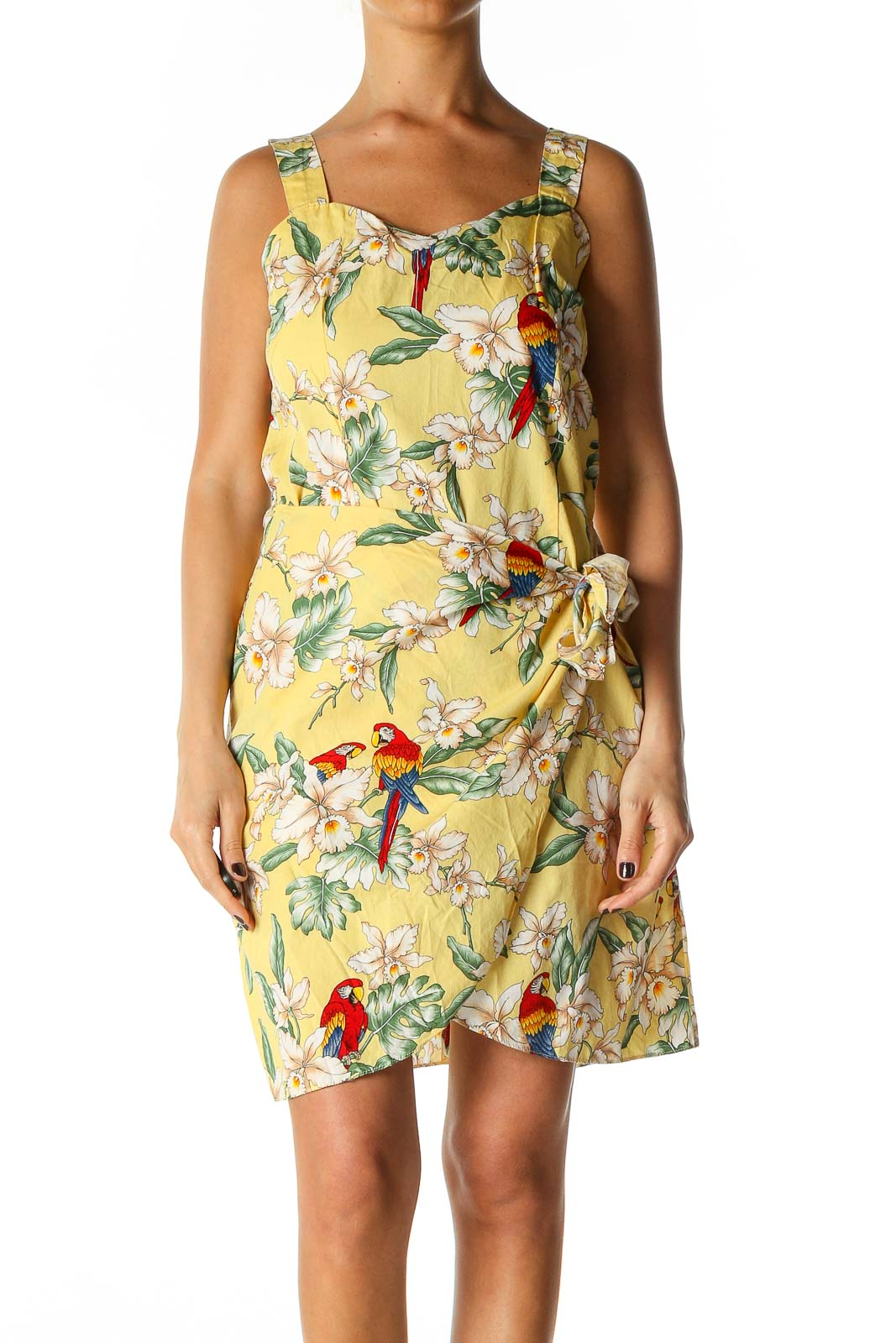 Yellow Object Print Day A-Line Dress Front