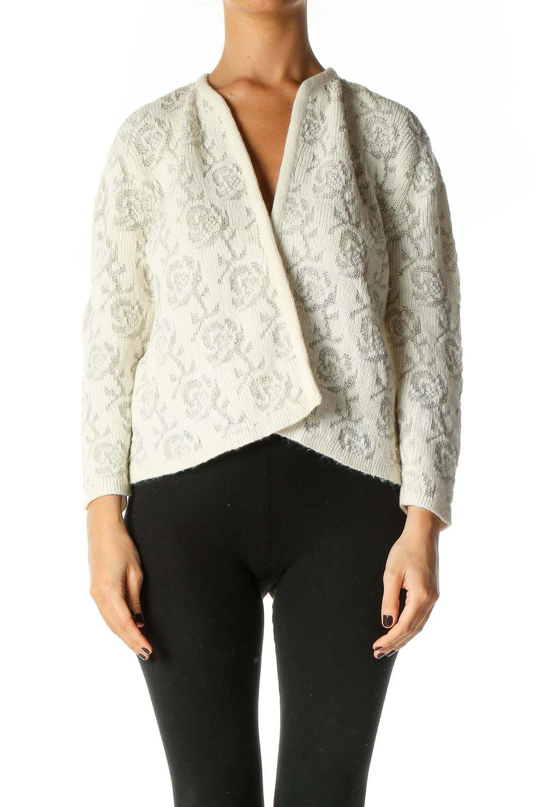 White Textured Cardigan Front
