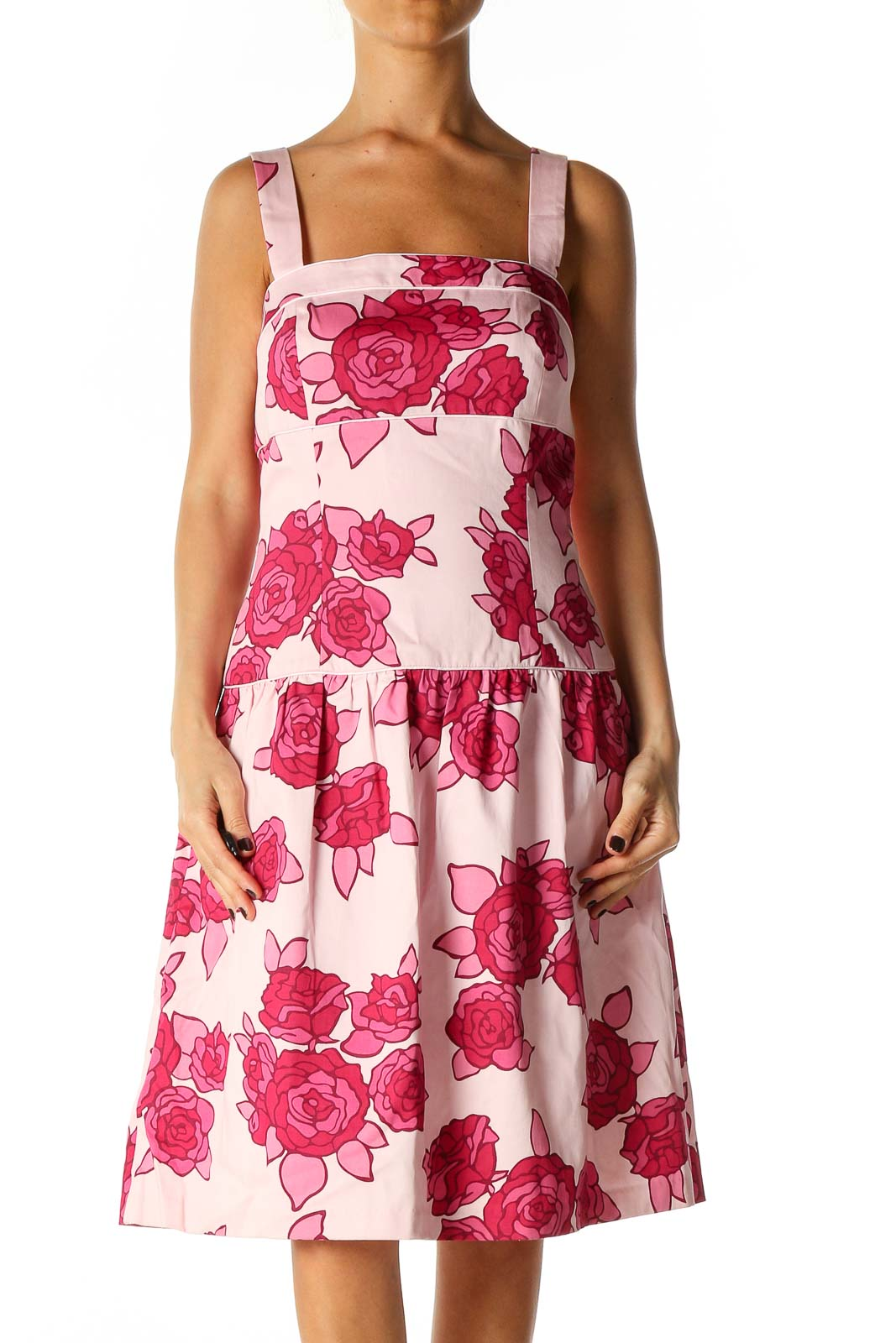 Pink Floral Print Casual Fit & Flare Dress Front