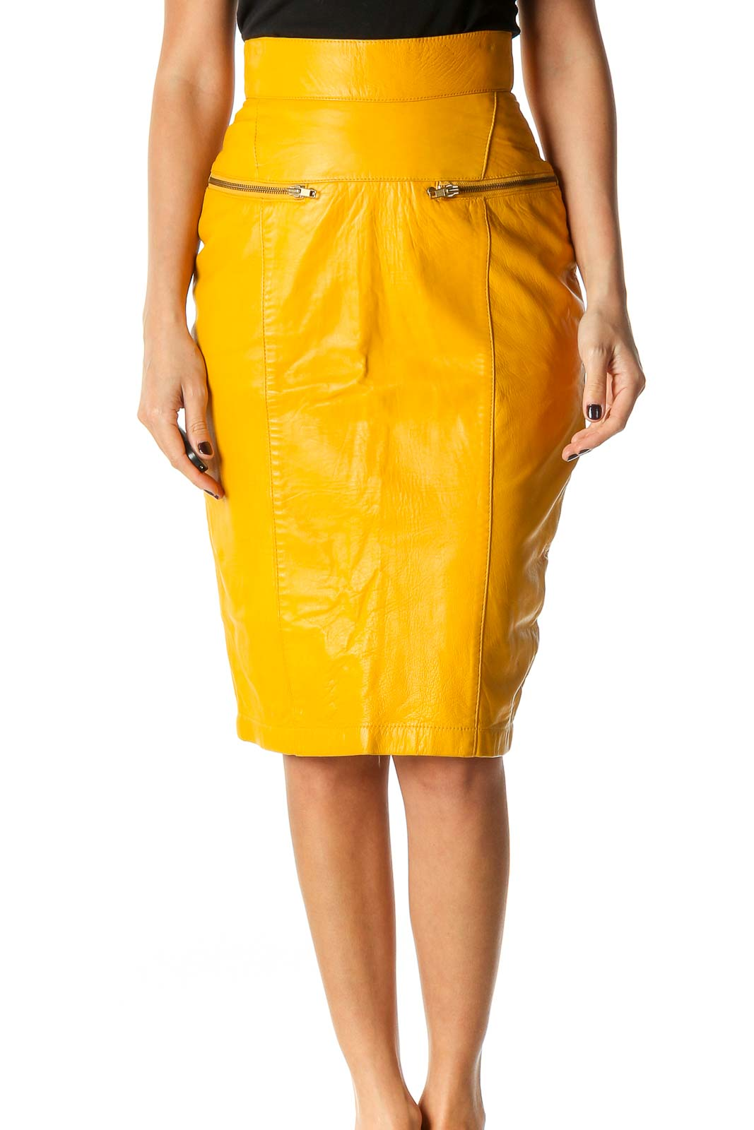 Yellow Solid Classic Pencil Skirt Front